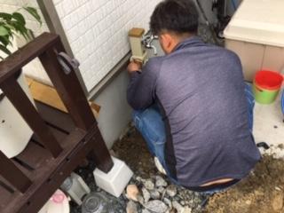 神辺町S様邸、外水栓取付工事
