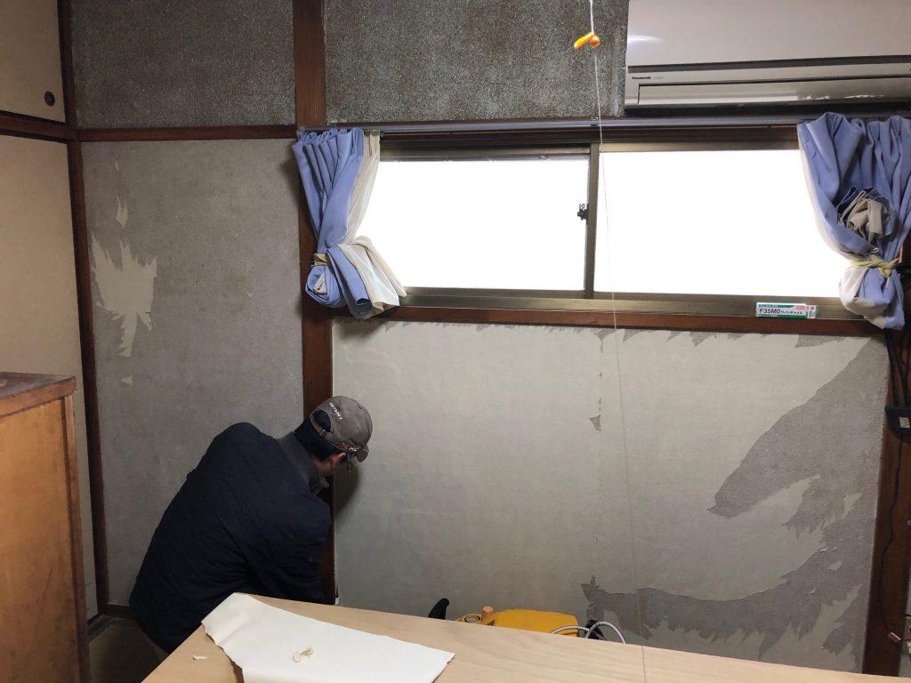 福山市久松台K様邸床追い張り、壁追い張り、クロス施工 工事