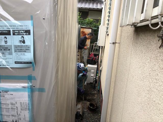 千田町でエコキュート工事です